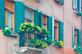 Green windows and yellow flowers in a venetian building Stock Image