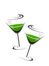 A green wine glass theme for Patrick's Day. Stock Photo