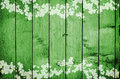 Green wooden background Print of Clovers