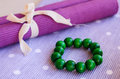 Green wooden bracelet Royalty Free Stock Photography
