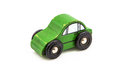 Green wooden car toy made of wood on white background Stock Photos