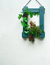 Green wooden frame with animal ceramic doll grape and green leaf hang on concrete wall Stock Images