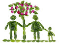 Green world concept family and love isolated children s collage from fresh leaves and pink buds Stock Photography