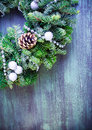Green wreath christmas with decorations Stock Photo