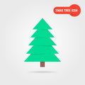 Green xmas tree icon with shadow