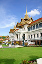Green yard in front of the chakri maha prasat royal grand palace bangkok thailand throne hall Royalty Free Stock Photography