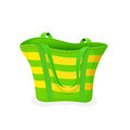 Green-and-yellow beach bag Royalty Free Stock Photo