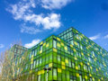 Green  and Yellow Blocks under Blue Sky. Royalty Free Stock Photo