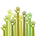 Green yellow colorful caring up hands hearts vector logo.