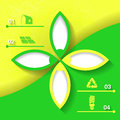 Green and yellow infograhpic background with symbols of sustainable development bright flower eps Royalty Free Stock Image
