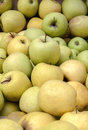 Green and yellow market apples in wood box Stock Image