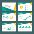 Green and Yellow multipurpose infographic element flat design set for presentation Royalty Free Stock Photo