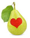 Green yellow pear with heart symbol Stock Photography