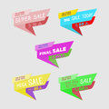 Green, yellow, red, blue, violet discount price signs on white background. Set of colorfull ribbon sale stickers.Sale typography b