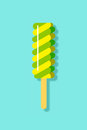 Green & Yellow Spiral Popsicle Flat Icon Illustration