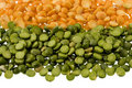 Green and yellow split peas Royalty Free Stock Images