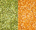 Green and yellow split peas Stock Images