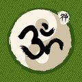 Green zen circle and yoga illustration traditional enso om