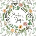Greenery selection vector design round invitation frame. Flowers, eustoma cream, brunia, green fern, eucalyptus, branches.