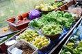 Greengrocery or vegetables and fruit shop in klong lat mayom canal floating market at bangkok thailand khlong lat mayom floating Stock Images