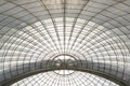 Greenhouse symmetrical dome curved structure seen from below Royalty Free Stock Photo