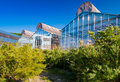 Greenhouses to test genetically modified plants Stock Photo