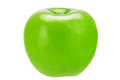 Greening fresh green apple isolated on the white background Royalty Free Stock Photos