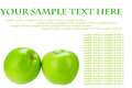 Greening two fresh green apples isolated on the white background with sample text Stock Photos