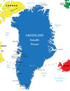 Greenland map highly detailed vector of with administrative regions main cities Royalty Free Stock Photos