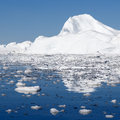 Greenland nature and landscapes of travel on the scientific vessel among ices studying of a phenomenon of global warming ices and Royalty Free Stock Image