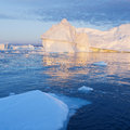 Greenland nature and landscapes of travel on the scientific vessel among ices studying of a phenomenon of global warming ices and Stock Image