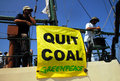 Greenpeace activists ashkelon isr sep on the rainbow warrior protesting on sep against israel s plan to build a new electricity Stock Image