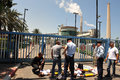 Greenpeace blocks entry to power station in south israel ashkelon isr aug activists under coal hill inside rutenberg on aug the Stock Image