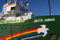 Greenpeace valencia spain december s vessel the arctic sunrise at the port of valencia is a nongovernmental Royalty Free Stock Photography