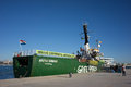 Greenpeace valencia spain december s vessel the arctic sunrise at the port of valencia is a nongovernmental Royalty Free Stock Image