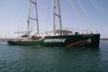 Greenpeace valencia spain june s vessel the rainbow warrior departing the port of valencia is a nongovernmental Royalty Free Stock Images