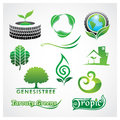 Greens symbol logo design template set Royalty Free Stock Images