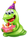 A greenslime monster celebrating a birthday illustration of on white background Stock Photography