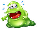 A greenslime monster escaping illustration of on white background Royalty Free Stock Photos