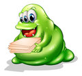 A greenslime monster having a new job illustration of on white background Royalty Free Stock Photography