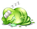 A greenslime monster sleeping illustration of on white background Stock Photography