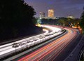 Greenville south carolina skyline above the flow of traffic on interstate Stock Images