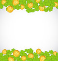 Greeting background with shamrocks and golden coin Royalty Free Stock Images