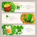 Greeting banners to st patricks day set of three cute Stock Images