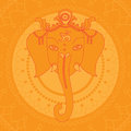 Greeting Beautiful card with Elephant. Design elements for birthday and other holiday. Hinduism God Ganesha with mandala. Line a