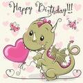 Cute Cartoon Dragon with a balloon
