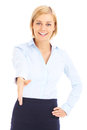 Greeting businesswoman a picture of a young you over white background Stock Photography