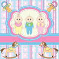 Greeting card for babies triplets Stock Photo