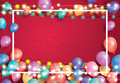 Greeting Card with Balloons, White Frame and Neon Garland.