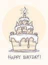 Greeting card with big birthday cake contour drawing vector illustration transparent objects used for lights and shadows drawing Royalty Free Stock Image